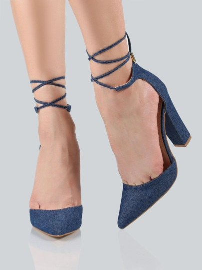 Closed Toe Ankle Wrap Heels DENIM BLUE