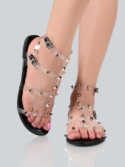 Transparent Studded Sandals BLACK