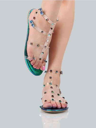 Holographic Transparent Stud Sandals MULTI