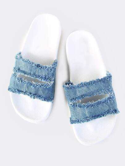 Denim Slit Slides BLUE
