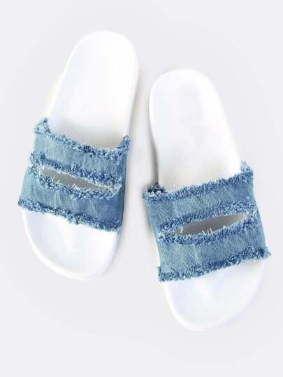 Denim Slit Slides BLUE