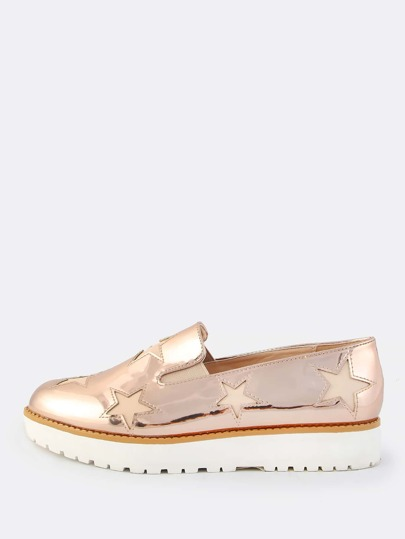 Patent Star Slip On Flatforms ROSE GOLD