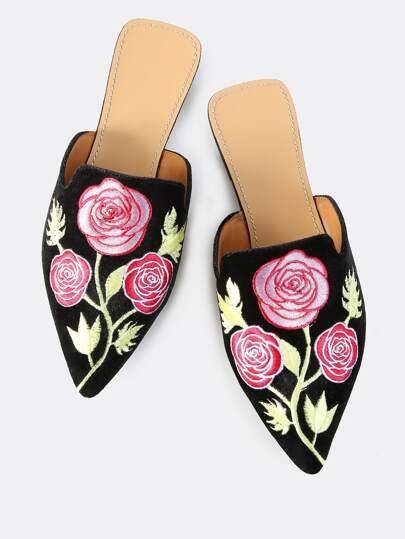 Rose Embroidered Velvet Slip Ons BLACK