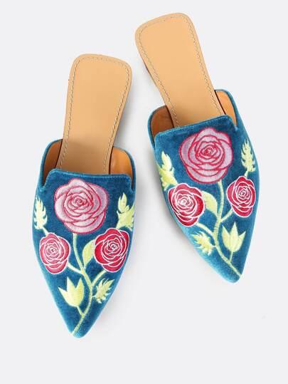 Velvet Embroidered Slip Ons TEAL