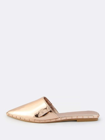 Studded Metallic Closed Toe Slip Ons ROSE GOLD
