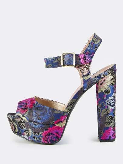 Vintage Floral Platform Heels PURPLE MULTI
