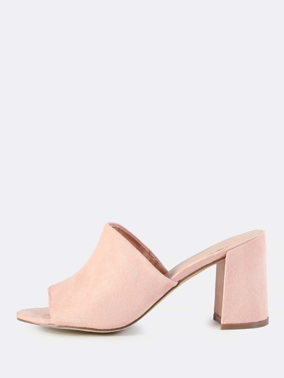 Faux Suede Chunky Mules BLUSH