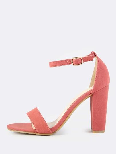 Faux Suede Ankle Strap Heels MAUVE