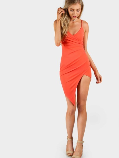 Asymmetrical Overlap Cami Bodycon Dress