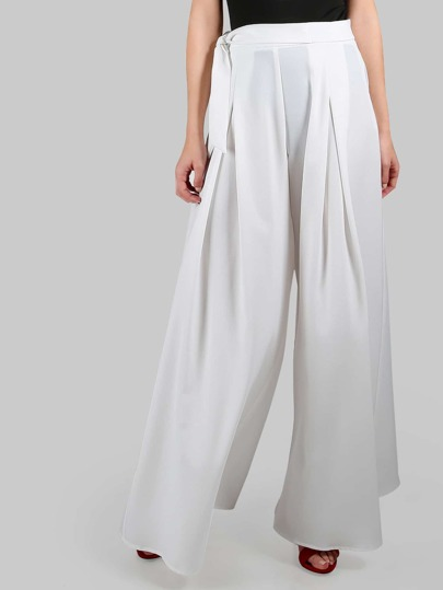 Wide Leg Tie Palazzo Pants WHITE