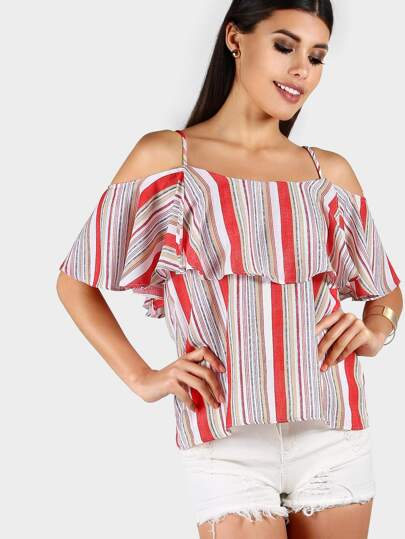 Vertical Striped Layered Top RED MULTI