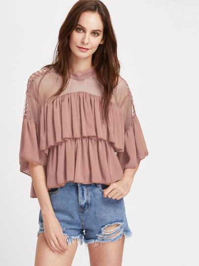 Ladder Strap Sheer Shoulder Tiered Frill Top