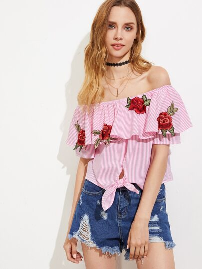 Embroidered Rose Applique Knot Front Striped Bardot Top
