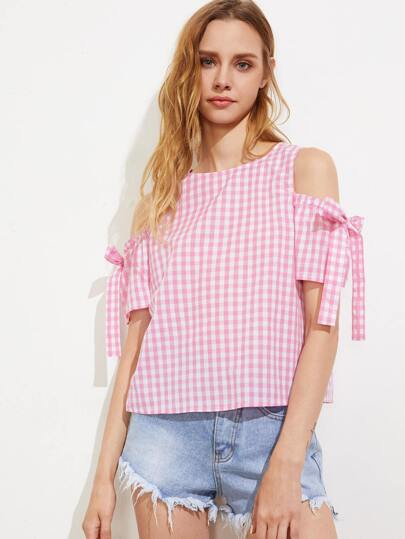 Bow Tie Open Shoulder Button Back Checkered Top