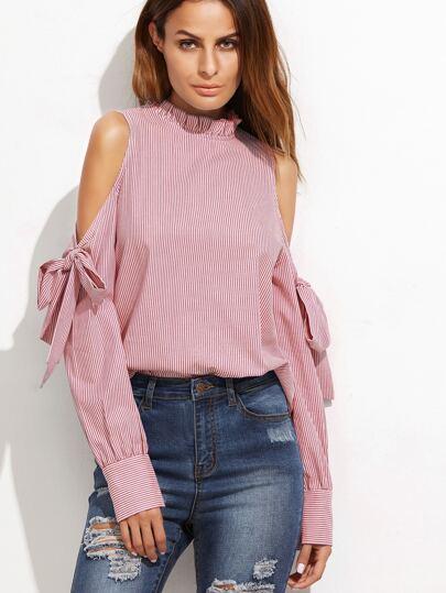 Schulterfreie Bluse mit Falten, Schleife und Streifen