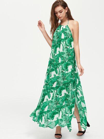 Palm Leaf Print Low Back Slit Halter Dress