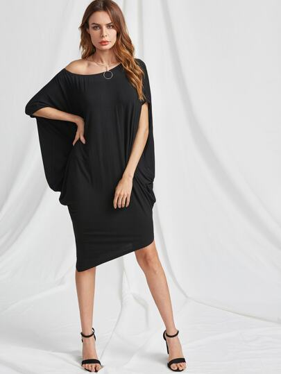 Asymmetric Shoulder Dolman Sleeve Dress
