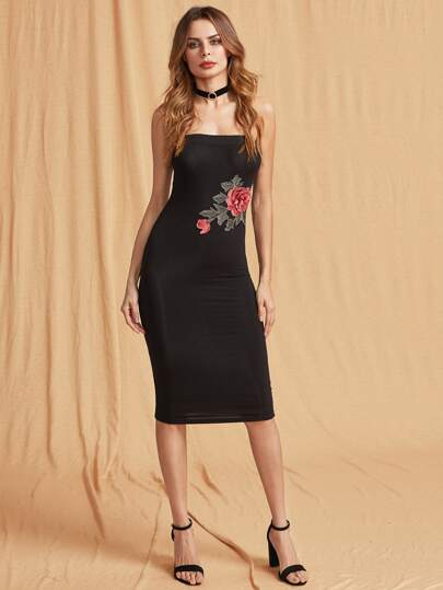 Bodycon Kleid mit 3D Rose Applikation