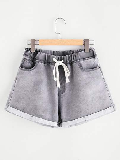Drawstring Waist Cuffed Bleach Wash Denim Shorts