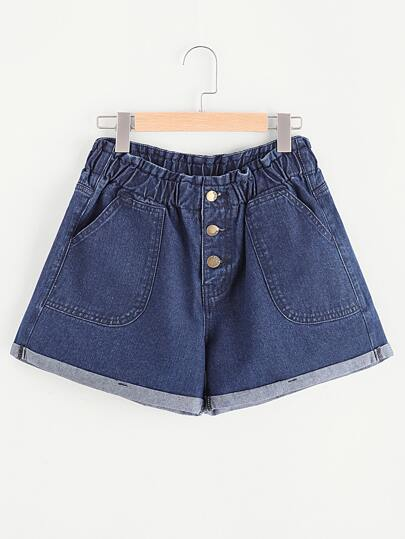 Buttoned Fly Patch Pocket Cuffed Denim Shorts