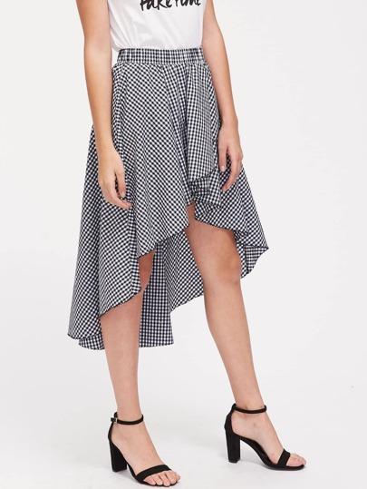 Elastic Waist High Low Gingham Skirt