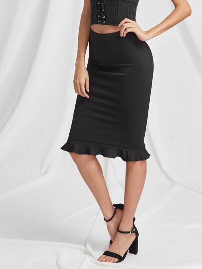 Elastic Waist Ruffle Hem Pencil Skirt