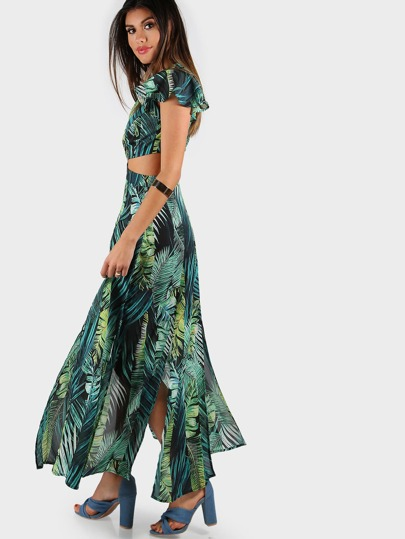 Foliage Print Twist Cutout M-Slit Dress