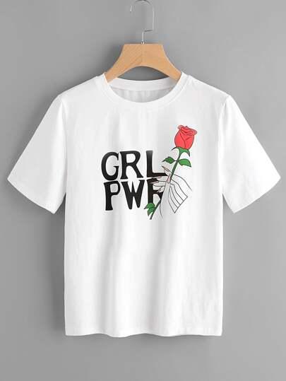 T-Shirt mit Rosemuster und Kurzärmeln