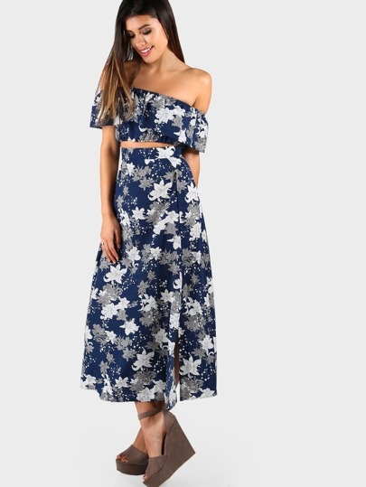 Flower Print Crop Frill Top And High Slit Skirt Set