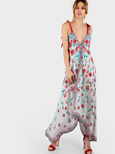 Ruffle Hem Spaghetti Strap Floral Print Dress IVORY