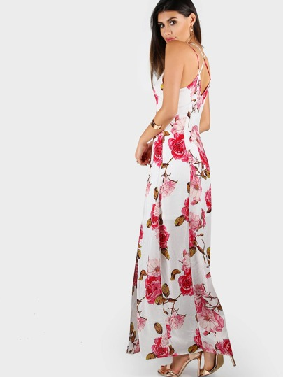 Strappy Floral Print Maxi Dress OFF WHITE