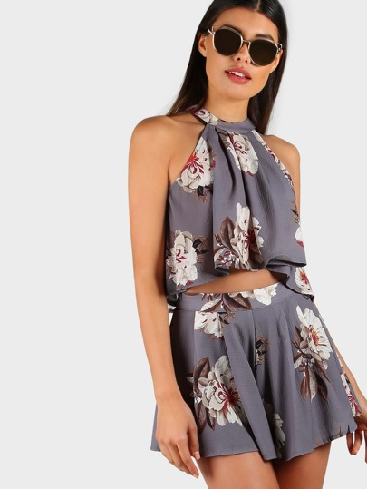 Floral Flowy Two Piece Matching Set GREY