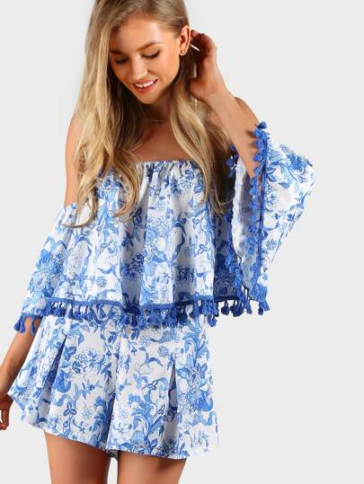 Off Shoulder Floral Print Tassel Crop and Matching Shorts Set BLUE