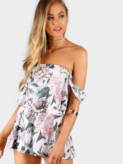 Floral Print Frill Zip Up Romper IVORY