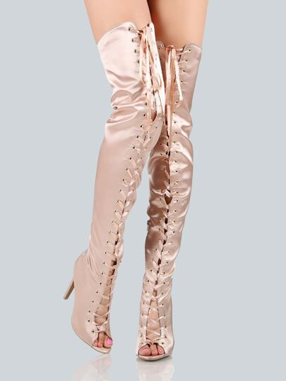 Lace Up Peep Toe Thigh Highs CHAMPAGNE