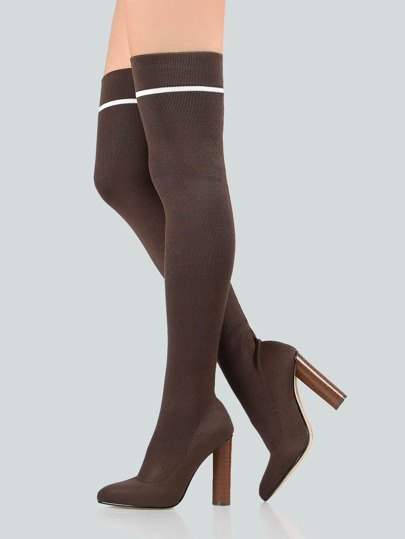 Point Toe Thigh High Sock Booties KHAKI