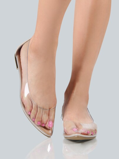 Clear Point Toe Flats CLEAR