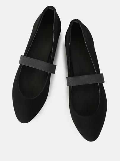 Elastic Band Ballet Flats BLACK