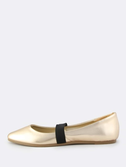 Metallic Elastic Band Flats GOLD