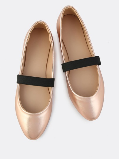 Elastic Band Metallic Ballet Flats ROSE GOLD