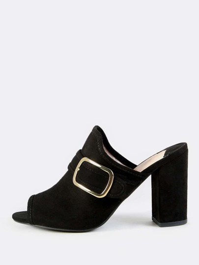 Faux Suede Buckled Mules BLACK