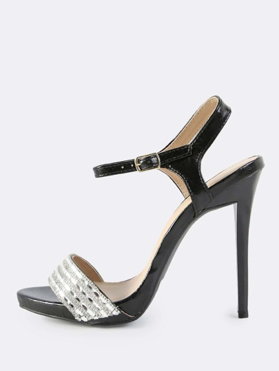 Faux Leather Encrusted Crystal Heels BLACK