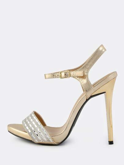 Encrusted Crystal Metallic Heels GOLD