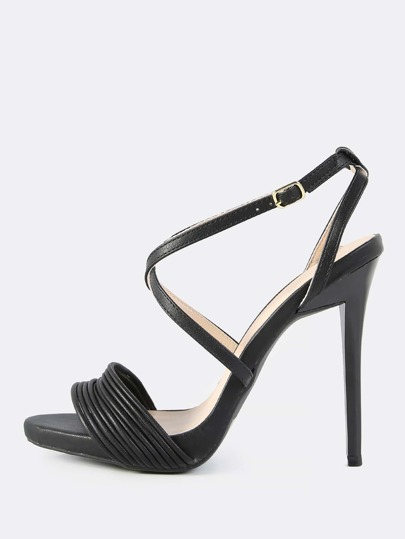 Faux Leather Multi Strap Band Heels BLACK