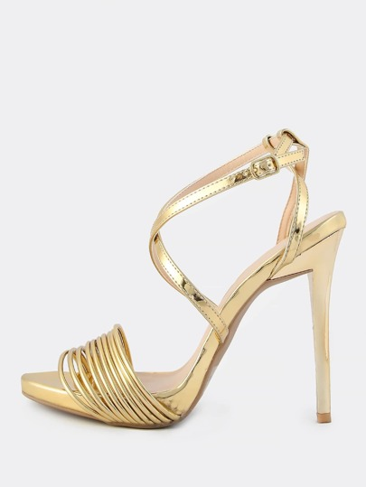 Metallic Multi Strap Band Heels GOLD
