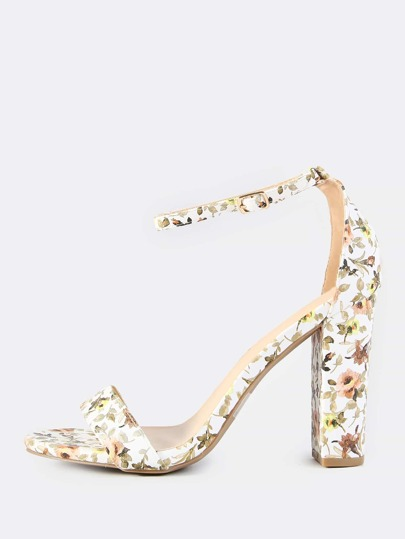 Floral Print Ankle Strap Heels WHITE