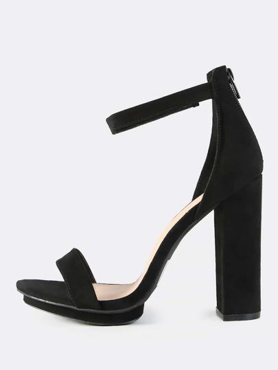 Faux Suede Ankle Strap Heel BLACK