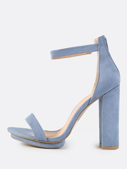 Chunky Ankle Strap Heels DUSTY BLUE