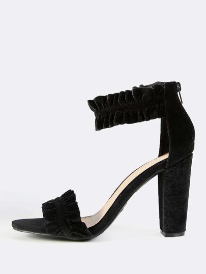 Velvet Ankle Strap Ruffled Heels BLUSH