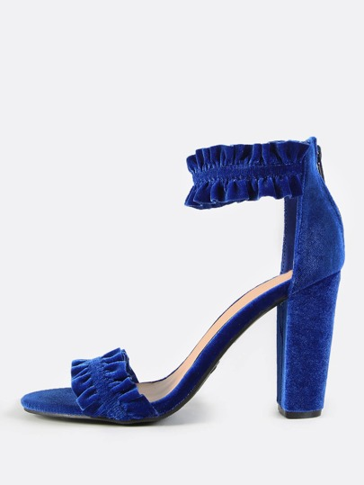 Frilly Ankle Strap Heels BLUE